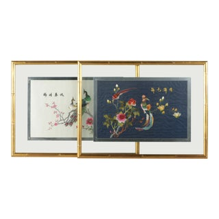 Chinoiserie Bamboo Frame Embroidered Peacock Birds and Flowers Textile Art - a Pair For Sale