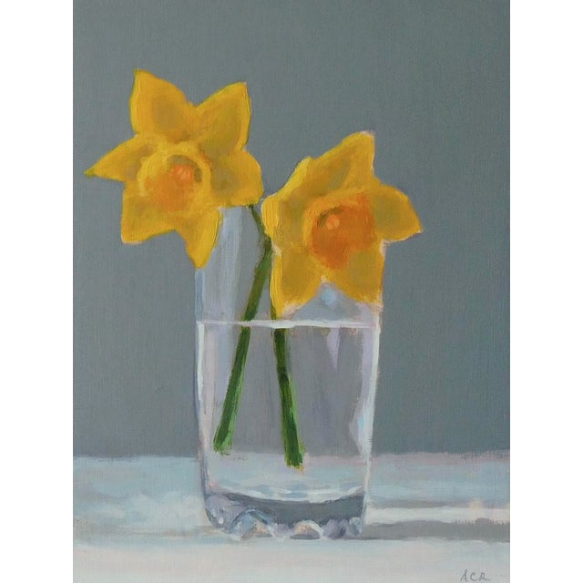 Daffodils in a glass of water. There's a certain beauty about the solitude of simple objects. From my garden, painted from...
