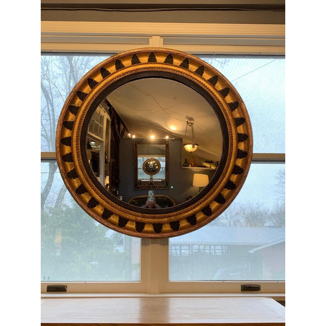 Round Regency Black and Gold Mirror For Sale - Image 10 of 10