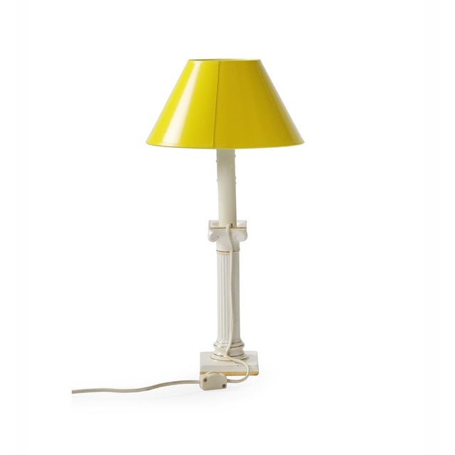 Transitional Mid 20th Century Porcelain Column Lamps - a Pair For Sale - Image 3 of 12