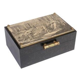 1970s Vintage Fornasetti Inspired Decorative Storage Box For Sale