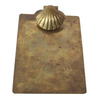 1960s Solid Brass Shell Themed Clipboard For Sale