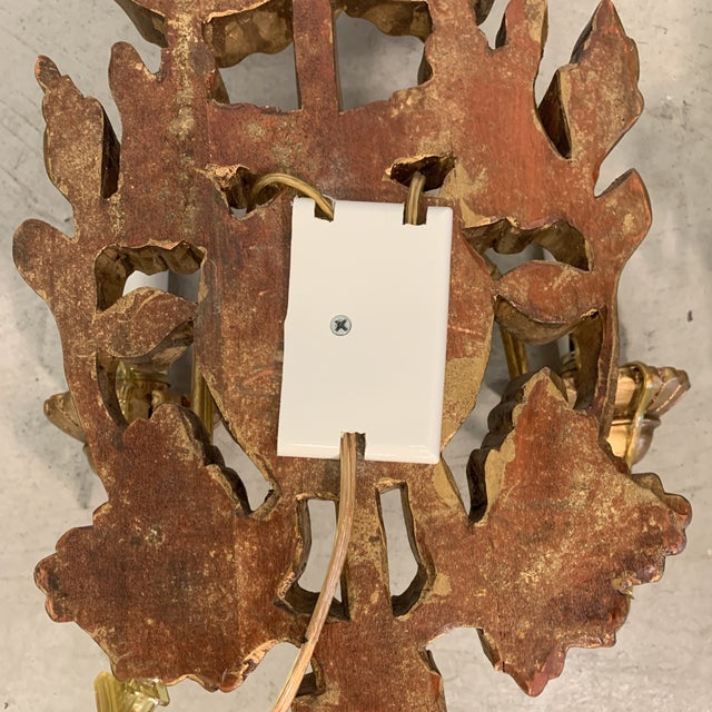 Gold Leaf Italian Gilt Wood Carved Lighted Sconces -A Pair For Sale - Image 7 of 13