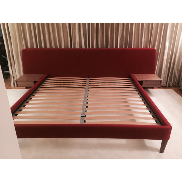Design Within Reach Red Upholstered Wide Bed - Image 2 of 8