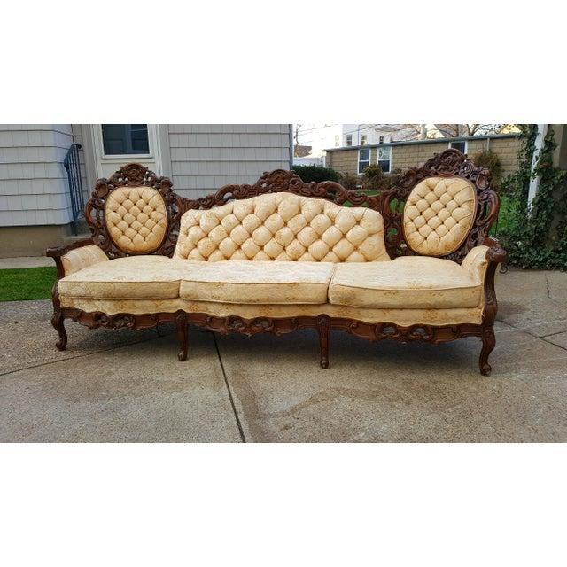 Baroque Vintage Victorian Carved Wood Sofa For Sale - Image 3 of 10