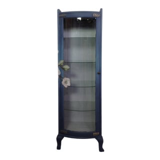 Floral Glass Curio For Sale