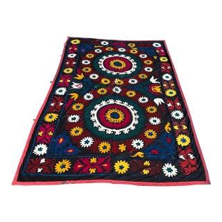 Handmade Suzani Black Background Fabric For Sale