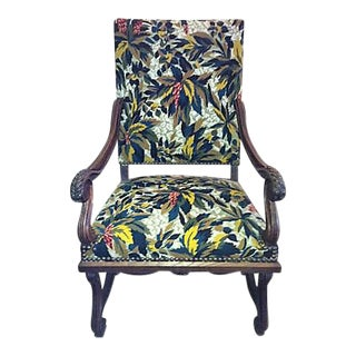 Antique French Walnut & Tapestry Armchair