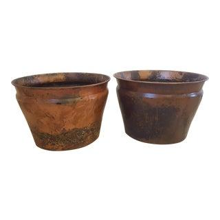 Large Copper Planters - a Pair