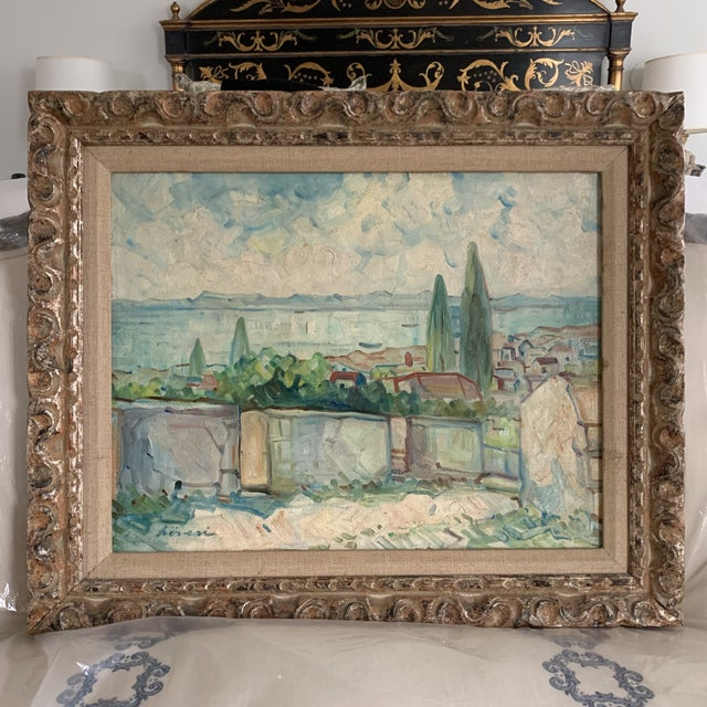 Original antique landscape oil painting. Signed but illegibly. Soft palate and classic Mediterranean landscape. Circa...
