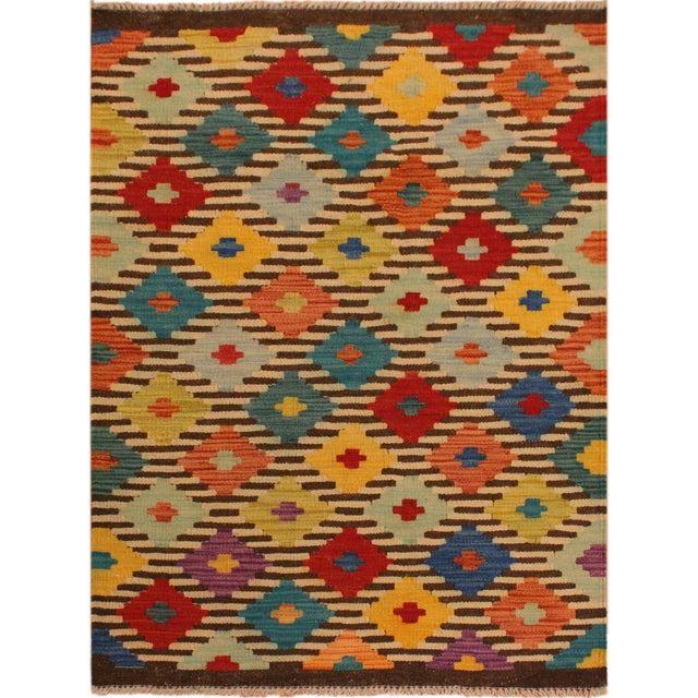 Blue Kilim Arya Liriene Ivory/Brown Wool Rug -2'6 X 4'2 For Sale - Image 8 of 8