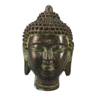 Vintage Ming-Style Cast Bronze Buddha Head Sculpture For Sale