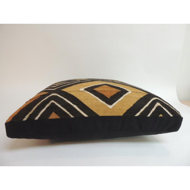 African Vintage Graphic African Artisanal Textile Mud Cloth Decorative Pillow For Sale - Image 3 of 5