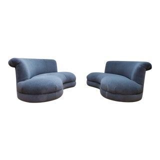 Mid Century Modern Adrian Pearsall Style Kidney Curved Shape Sofas - a Pair For Sale