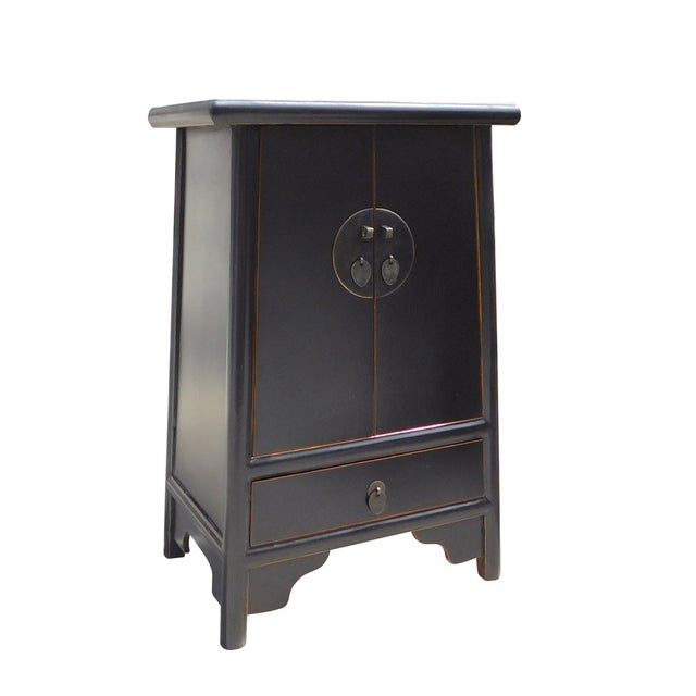 Chinese-Style Tapered Black Nightstand - Image 3 of 5