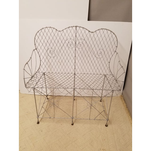 Charming Antique Silver Painted French Wire Settee. Excellent condition and actually comfortable. Estate find.