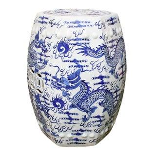 Blue & White Hex Fire Ball Dragon Garden Stool
