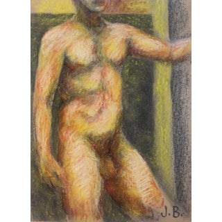 Large Male Nude Pastel Painting by James Bone, 1970s For Sale