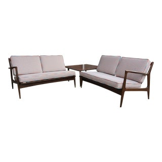 1960s Ib Kofod Larsen Walnut Sectional Sofa for Selig For Sale