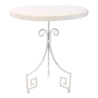 Arteriors Callie White Marble and Metal Greek Key Accent Table For Sale