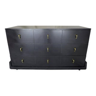Midcentury Modern Gentlemen's Asian-Black Brass Handle Dresser For Sale
