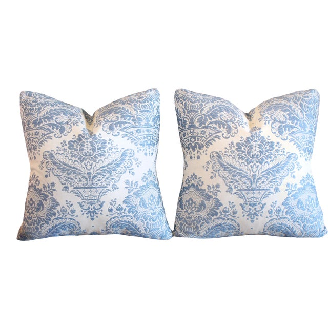 """Embroidered 100% Belgian Linen 17"""" Square Pillow, Circa 40s - a Pair For Sale"""