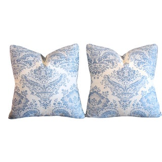 """Embroidered 100% Belgian Linen 17"""" Square Pillow Pair, Circa 40s For Sale"""