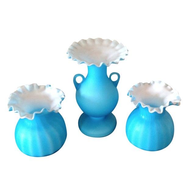 Blue Matte Ruffled-Edged Glass Vases - S/3 - Image 1 of 6