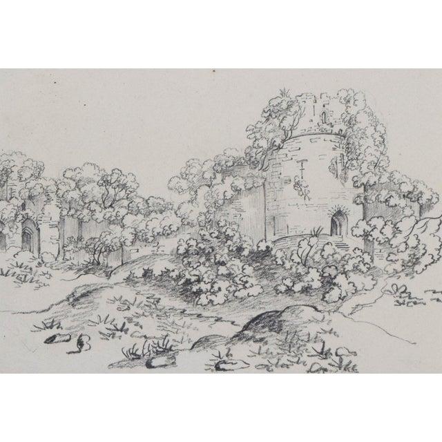 "19th Century Antique ""Castle Ruins"" Graphite Landscape Drawing For Sale - Image 4 of 6"