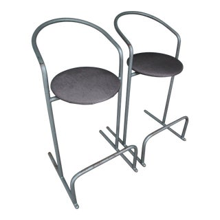Vintage Gray Metal Rounded Non-Swivel Bar Stools - a Pair For Sale