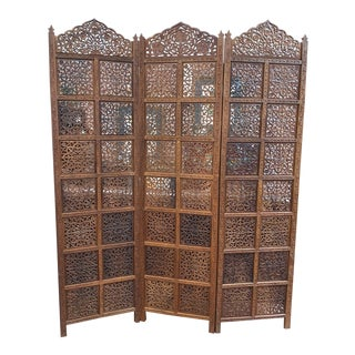 Asian Style Teak 3 Panel Screen For Sale