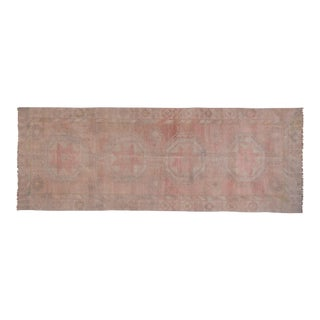 Muted Oushak Turkish Geometric Vegetable Dye Hand-Knotted Runner 4'7'' X 12'4'' For Sale