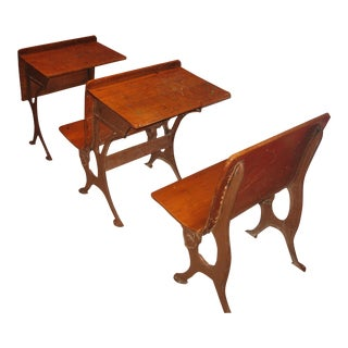 Antique School Desks - Set of 3 For Sale