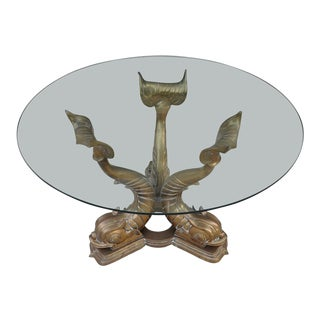 Vintage Italian 3 Brass Dolphin Sculpture Base and Glass Top Table For Sale