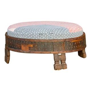 Pragya Kantha Upholstered Chakki Ottoman