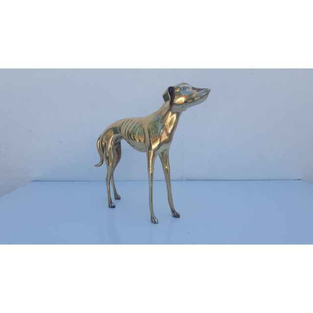 Hollywood Regency Brass Sculpture of Whippet or Greyhound Dog For Sale - Image 4 of 6