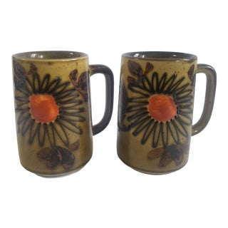 Vintage Stoneware Pottery Mugs With Brown Speckled Glaze and Flowers - a Pair For Sale