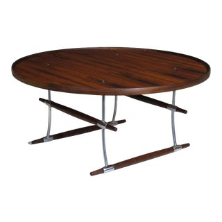 Jens Quistgaard for Nissen Langa Circular Rosewood and Chrome Coffee Table For Sale