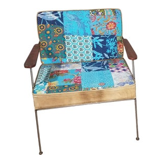 Vintage Mid Century Patchwork Arm Chair For Sale