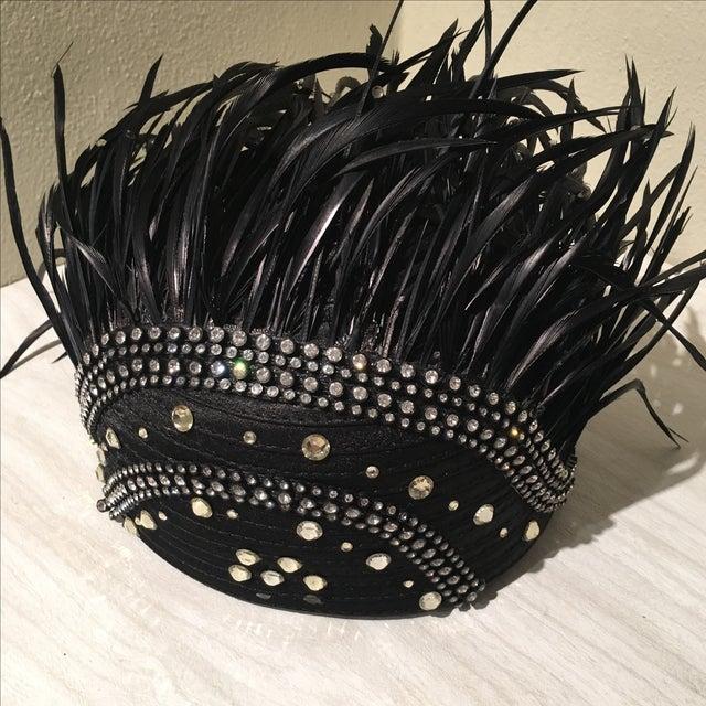 Vintage Feather & Rhinestone Hat - Image 4 of 6