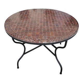 "Moroccan 48"" Round Coffee Brown Mosaic Coffee Table For Sale"