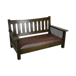 Mission Style Solid Oak Settee or Sofa For Sale