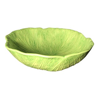 1970s Majolica Cabbage Lettuce Serving Bowl For Sale