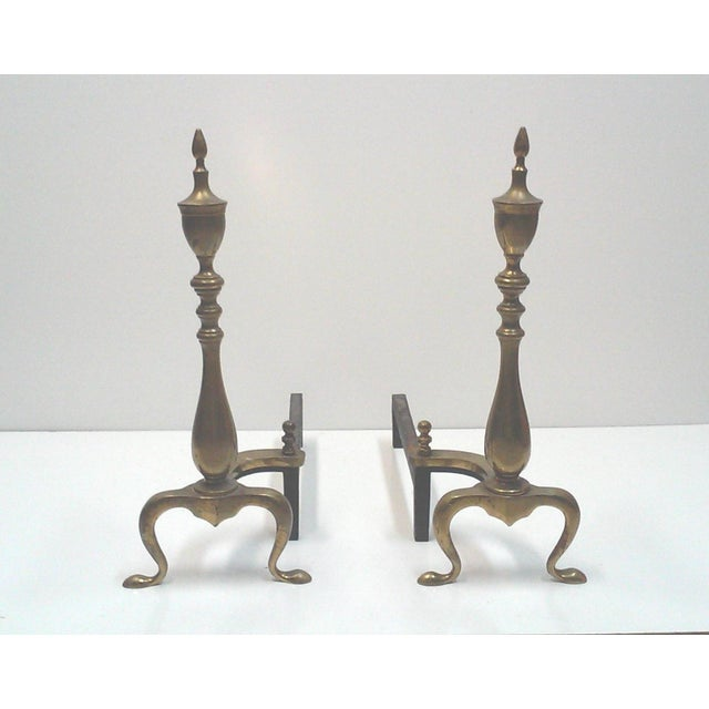 Federal Brass Fireplace Andirons - A Pair - Image 2 of 6