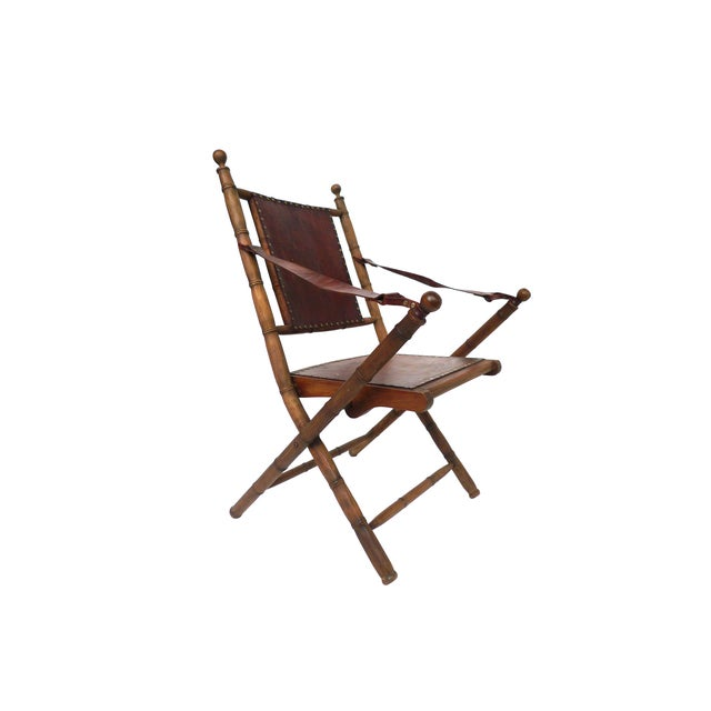 Campaign Style Leather & Ash Folding Chairs - Pair - Image 2 of 10