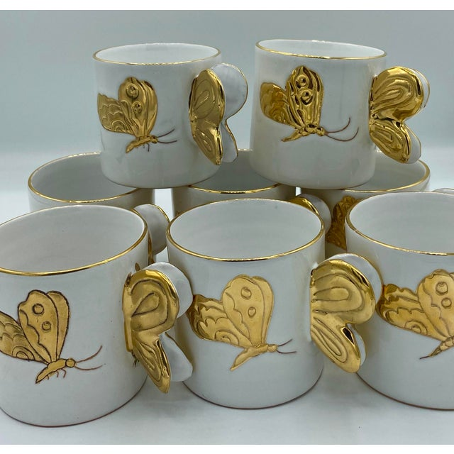 White Vintage Hollywood Regency Carole Stupell Golden Butterfly Luncheon Plate and Cups - Set of 8 For Sale - Image 8 of 12