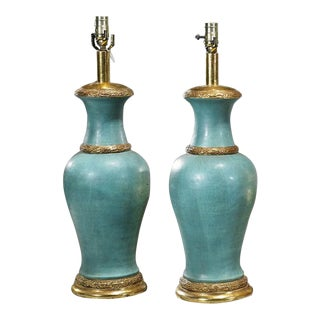Turquoise Pottery Urns Noe Designer Lamps - a Pair
