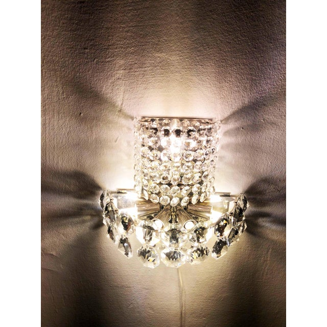Pair of Large Crystal Sconces by Bakalowits and Sohne For Sale - Image 9 of 13