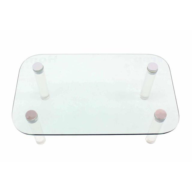 Transparent Glasstop Lucite Legs Coffee Table For Sale - Image 8 of 8