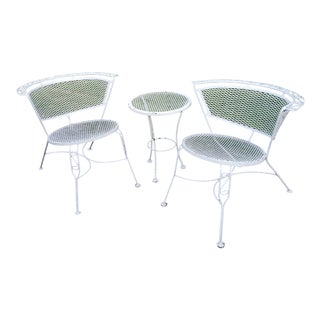 Iron Patio Chairs & Occasional Table, 3 Pieces For Sale